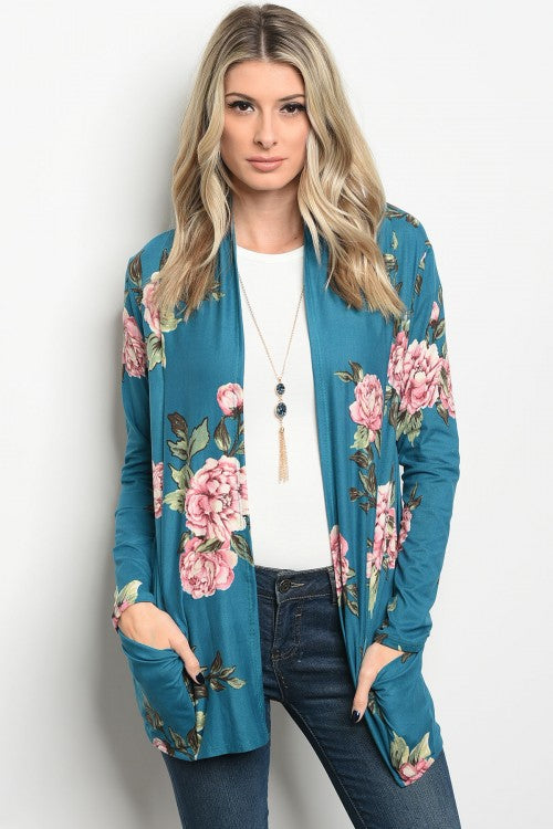 Teal Peach Lightweight Floral Cardigan