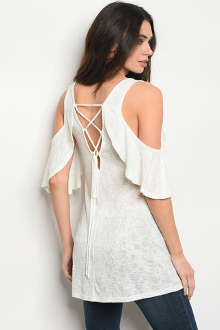 Ivory Cold Shoulder Lace Back Top
