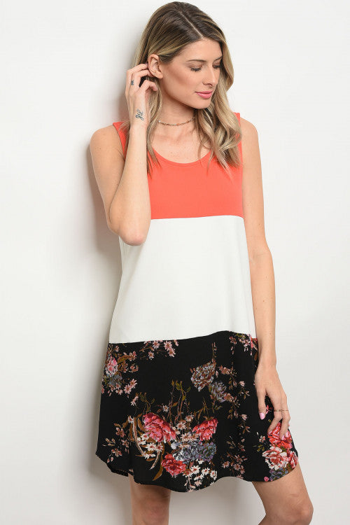 Coral Ivory Floral Sleeveless Dress