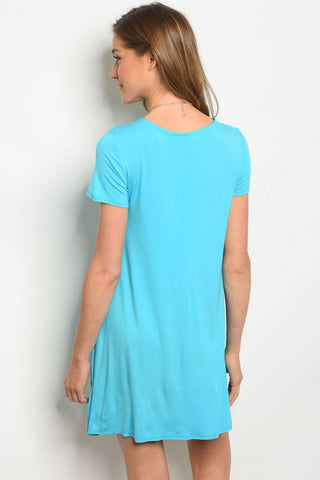 Turquoise Lace Up Short Sleeves Dress