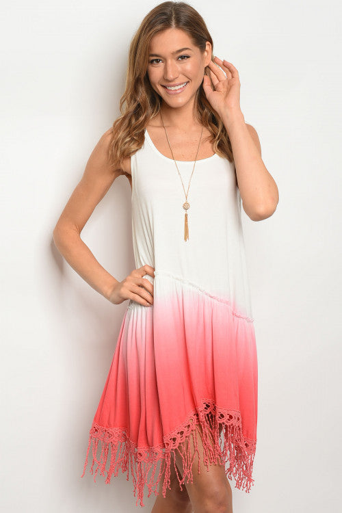 Coral Ombre Fringe Tunic Dress