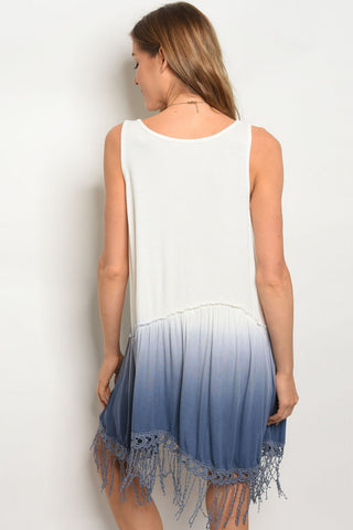 Blue Ombre Fringe Tunic Dress