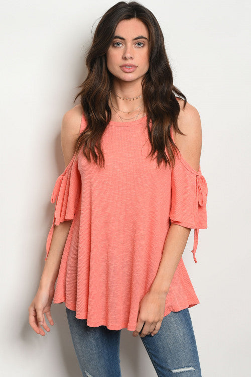 Coral Cold Shoulder Tie Top