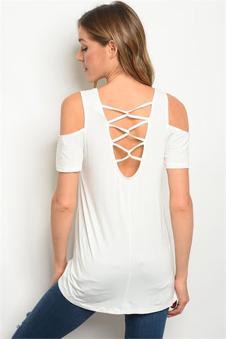 Ivory Criss Cross Cold Shoulder Top