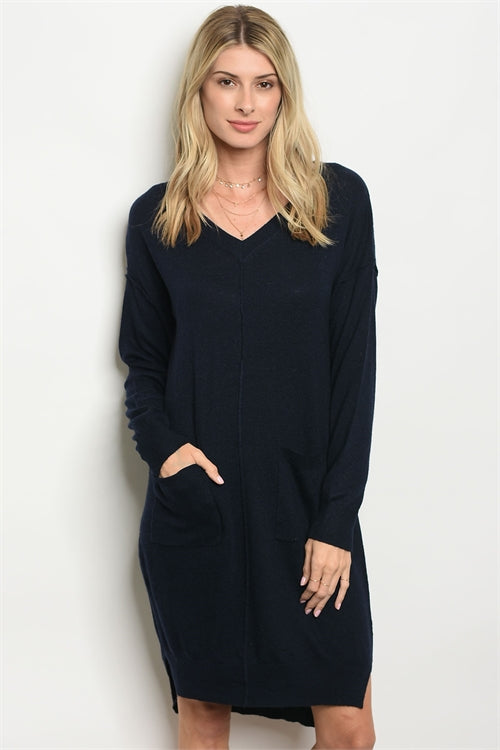Navy Front Pocket Sweater Dress