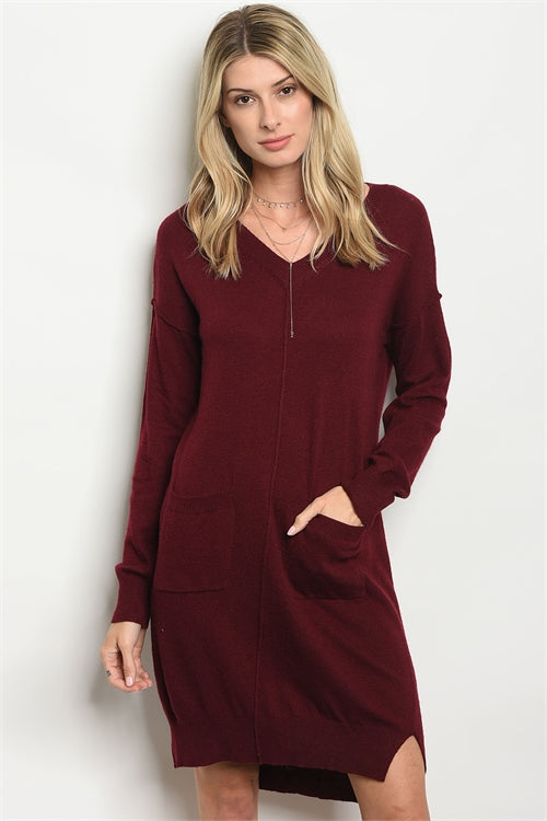 Wine Front Pocket Sweater Dress