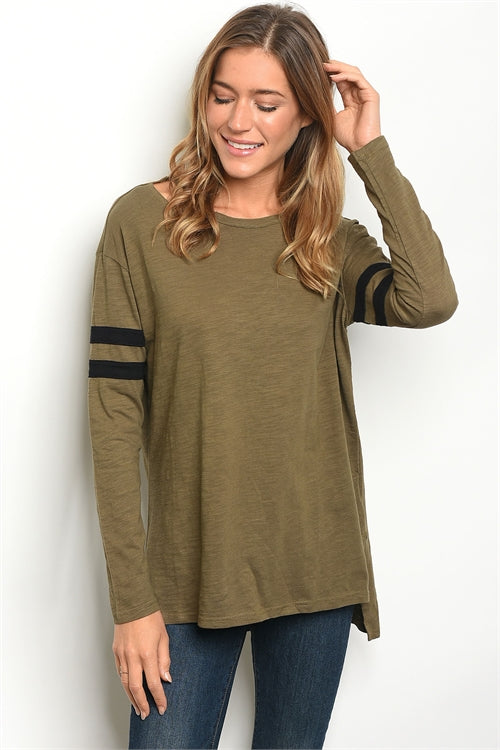 Olive Black Stripes Top