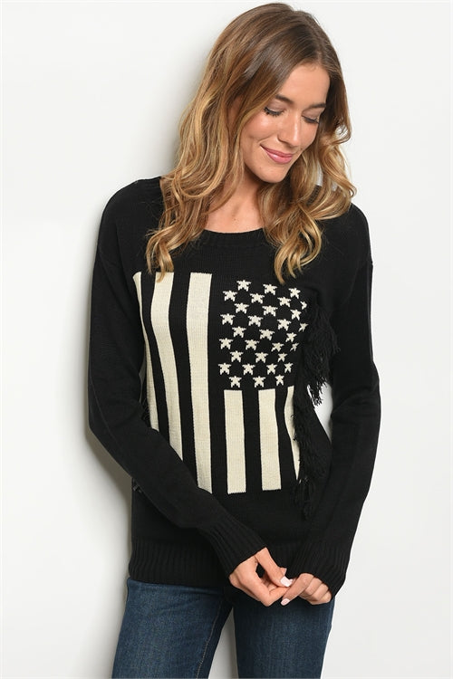 American Flag Fringe Sweater Top