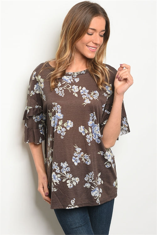 Brown Floral Ruffle Sleeve Top