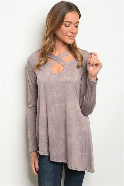Mocha Lavender Mineral Wash Tunic Top