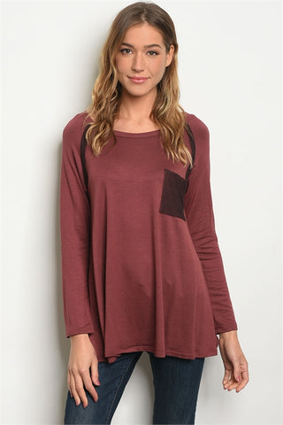Mauve Brown Elbow Patch Top