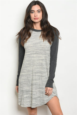 Grey Ivory Elbow Patch Dress