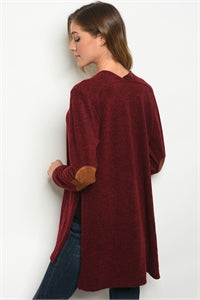 Burgundy Faux Suede Elbow Patch Cardigan