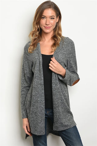 Grey Faux Suede Elbow Patch Cardigan