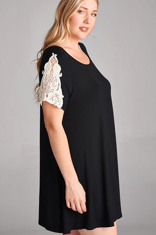 Black Lace Sleeve PLUS SIZE Tunic Dress