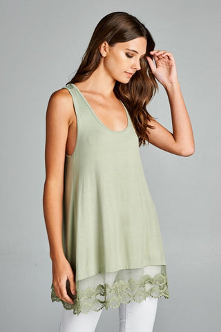 Sage Sleeveless Lace Hem Top