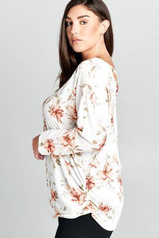 Floral Side Ruched Long Sleeves PLUS SIZE Top