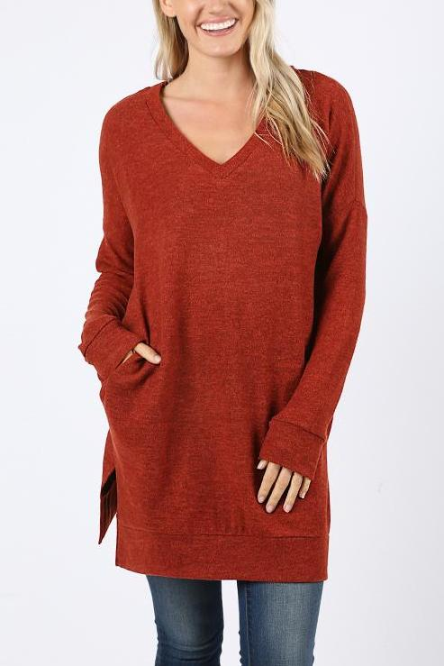 Dark Rust Brushed Melange Long Sleeves Top