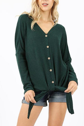 Hunter Green Waffle Knit Button Down Top