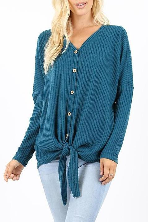 Teal Waffle Knit Button Down Top