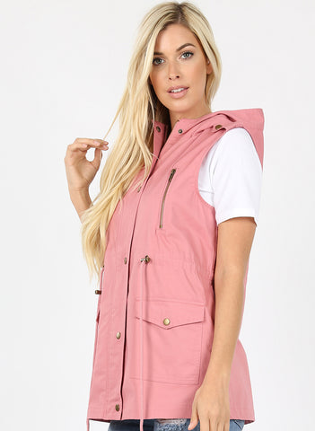 Dusty Rose Drawstring Hoodie Vest