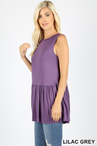 Lilac Grey Ruffle Bottom Sleeveless Top