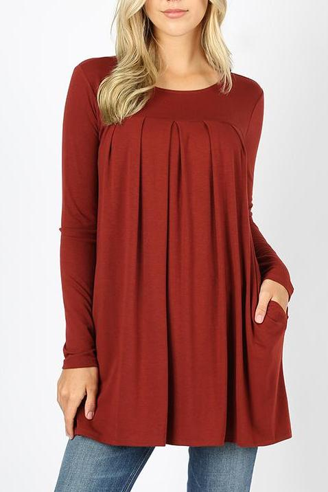 f3196c68d93 Brick Long Sleeves Pleated Top – Cali Boutique