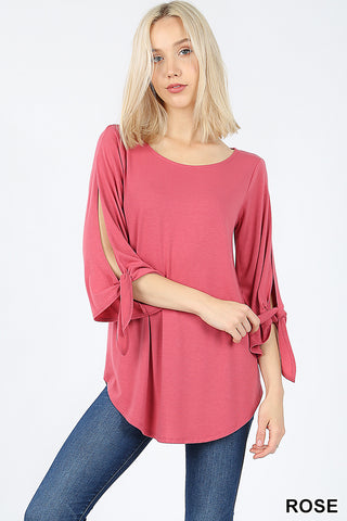 Rose Split Tie Top