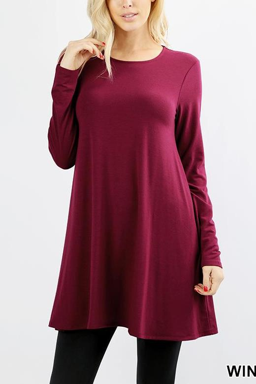 3a537fe05aba Wine Long Sleeves Tunic Dress – Cali Boutique