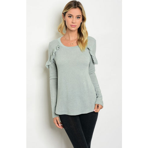 Sage Ruffle Sweater Top