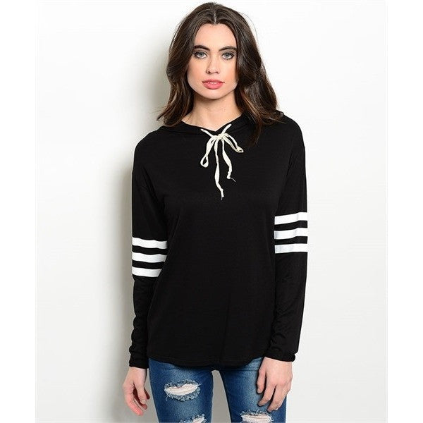 Black Athletic Hoodie Top