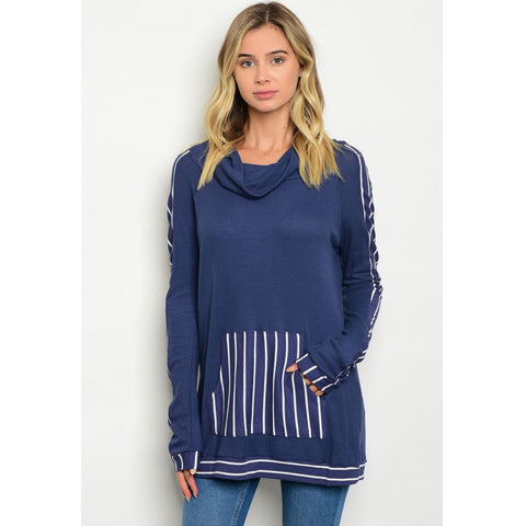 Navy Stripes Cowl Neck Casual Top