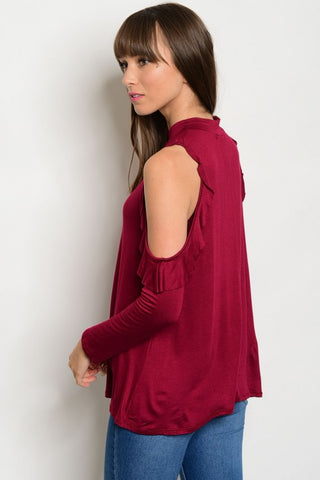 Burgundy Cold Shoulder Boutique Top