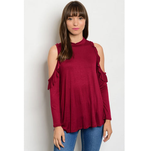 Burgundy Cold Shoulder Cute Top