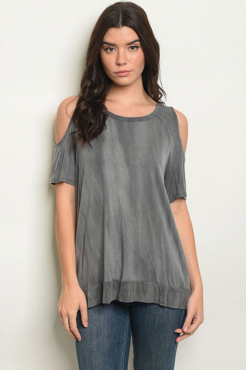 Charcoal Mineral Wash Cold Shoulder Top
