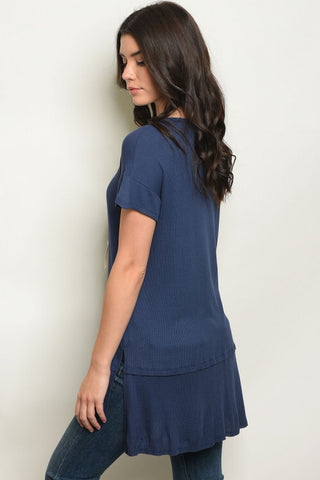 Navy Lace Up Casual Tunic Top