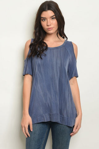 Blue Mineral Wash Cold Shoulder Top