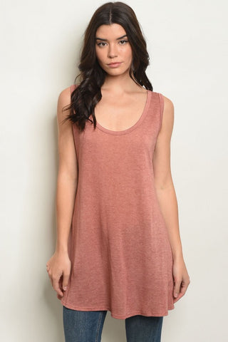 Rust Sleeveless Scoop Neck Tunic Top
