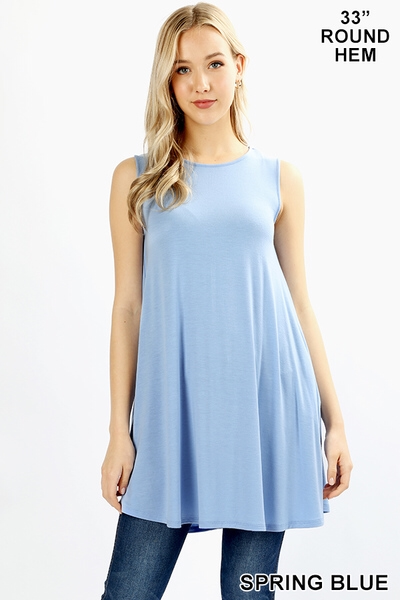 Light Blue Sleeveless Tunic Top