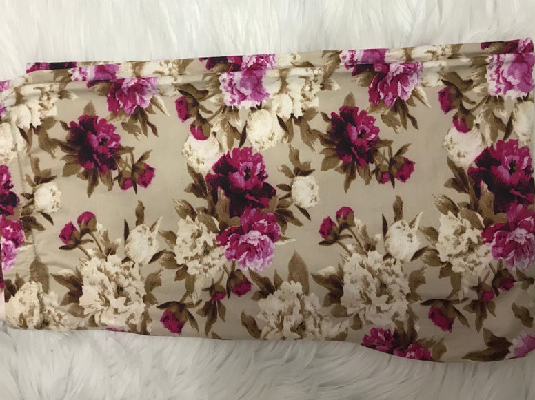 Tan Magenta Floral Capri Leggings