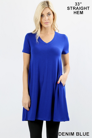 Royal Blue V Neck Sleeveless Tunic Top