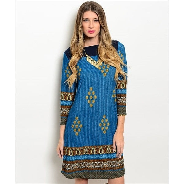 Navy Jade Mustard Dress