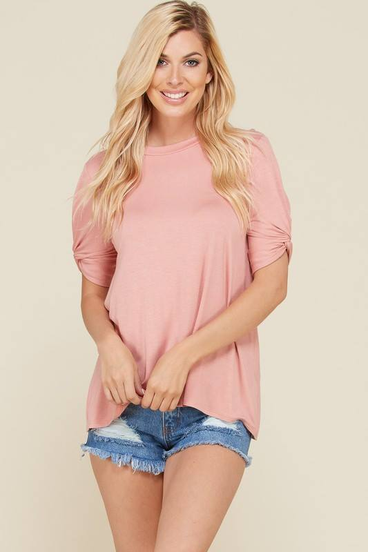 Peach Twisted Short Sleeves Top