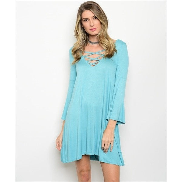 Turquoise Lace Up Bell Sleeves Dress