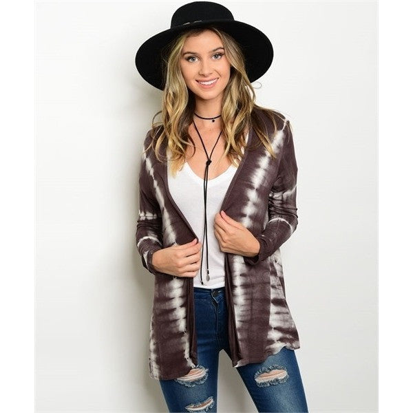Brown Tie Dye Open Front Cardigan