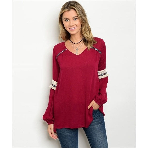 Burgundy Embroidered Fringe Tunic Top
