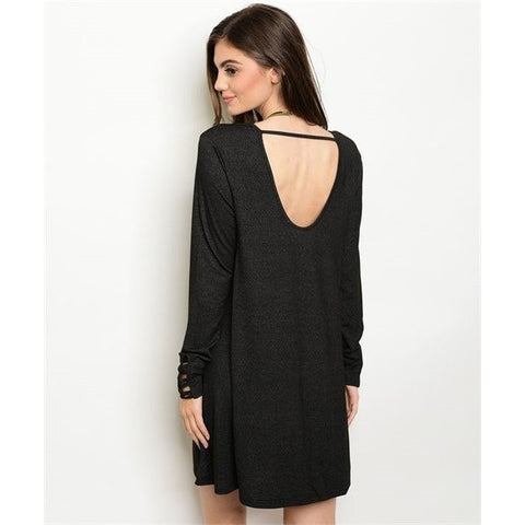 Deep Charcoal Scoop Back Tunic Dress