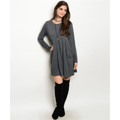 Grey Front Pocket Dress