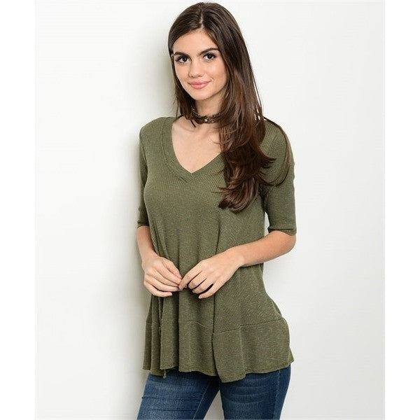 Green Ribbed Slub Knit Top