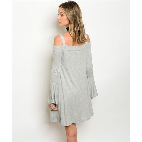 Grey Cold Shoulder Bell Sleeves Dress